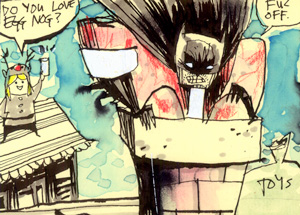 Original Art by Jim Mahfood - The Egg Nog Bat
