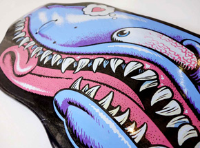 Art by Jim Phillips - Sharky Love Skate Deck