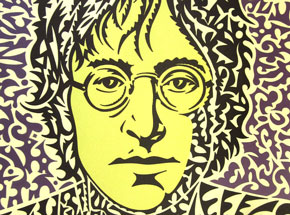 Art Print by John Van Hamersveld - John Lennon Portrait - Cream/Purple