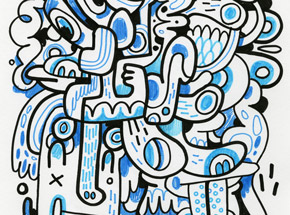 Original Art by Jon Burgerman - Blue Compostion - Original Artwork