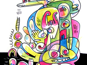 Original Art by Jon Burgerman - Mash Up - Original Artwork