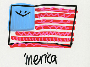 Original Art by Jon Burgerman - 'Merica - Original Artwork