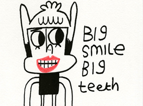 Original Art by Jon Burgerman - Big Smile Big Teeth - Original Artwork