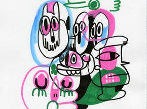 Original Art by Jon Burgerman - Friends - Original Artwork
