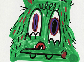 Original Art by Jon Burgerman - Green Head - Original Artwork