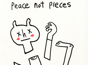 Original Art by Jon Burgerman - Peace Not Pieces - Original Artwork
