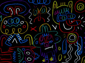 Original Art by Jon Burgerman - People At Night In The City