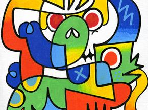 Original Art by Jon Burgerman - Life and Death - Original Artwork