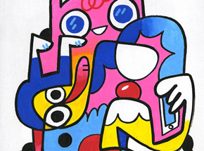 Original Art by Jon Burgerman - Connected - Original Artwork