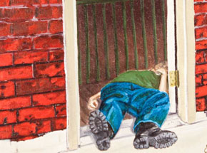 Original Art by Julie Fournier - Drunk In Doorway
