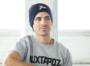 Art by 1xRUN Presents - Jux Script Logo - Dark Navy Beanie