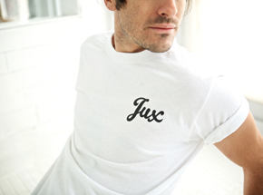 Art by 1xRUN Presents - Small - Jux Script Logo T-Shirt - Black on White