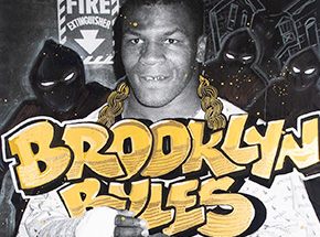 Art Print by Kaves - Brooklyn Rules - Top Of The Food Chain - Mike Tyson. Pitbull Off The Leash. NYC. 1988.