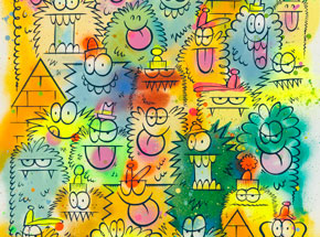 Original Art by Kevin Lyons - Monster Party - Aerosol 3/4