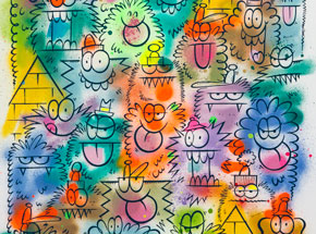 Original Art by Kevin Lyons - Monster Party - Aerosol 4/4