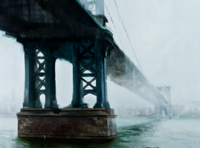 Art by Kim Cogan - Manhattan Bridge with Fog - Framed