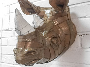 Original Art by Laurence Vallieres - Rhinoceros Head