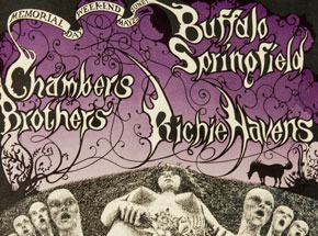 Art by Lee Conklin - Buffalo Springfield, Chambers Brothers at Fillmore - Memorial Weekend 1968