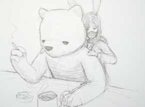 Original Art by Luke Chueh - The Bear & The Bunny