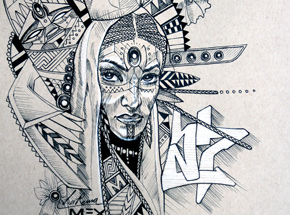 Original Art by Marka27 - Neo Indigenous - La Reina