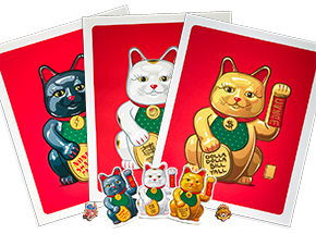 Art Print by Mark Sarmel - Combo Pack - Lucky Cat 3-Print Set + Sticker Pack + Pin