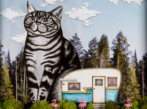 Original Art by Mary Williams - Big Cat In Your Backyard