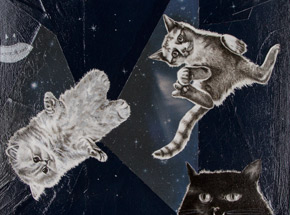 Original Art by Mary Williams - Cats In Space
