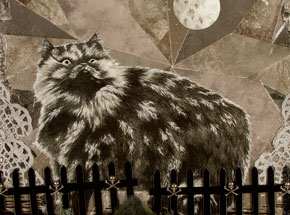 Original Art by Mary Williams - Cat Reveling In Human Cemetery