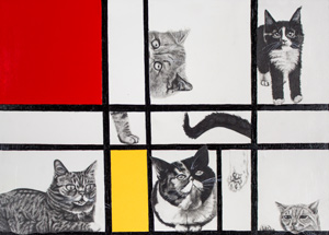 Art by Mary Williams - Composition With Cats - Framed