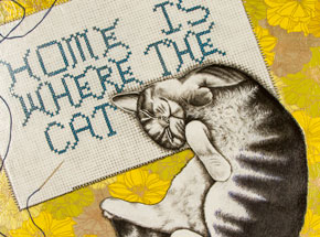 Original Art by Mary Williams - Home Is Where The Cat Is