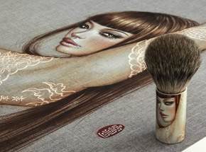 Art Print by Mimi Yoon - Coy - Print + Shaving Brush Combo