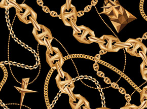 Art Print by Naturel - Black Gold Chains