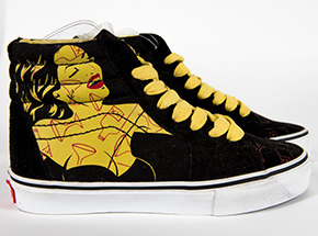 Clothing by Niagara - M4.5 / W6 - Yellow Woman With Red Martini - High Tops