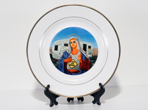 Art by Peter Adamyan - Trailer Park Mary - Porcelain Plate