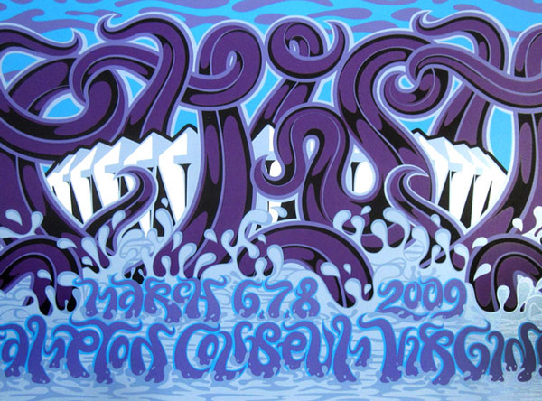 Art Print by Phish - March 6,7,8 2009 Hampton Coliseum, Virginia - Blue Variant