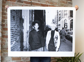 Art Print by Ricky Powell - Andy Warhol & Jean-Michel Basquiat Soho. NYC. 1985 - 44 x 32 Inch Edition