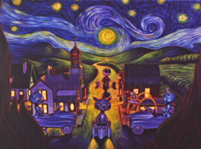 Art by Ron English - Double Vision Starry Night Puzzle