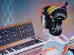 Original Art by Ron Zakrin - Kimono And Minimoog
