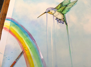 Art Print by Sage Vaughn x Jude Angelini - Hummingbird - Hand-Embellished Edition
