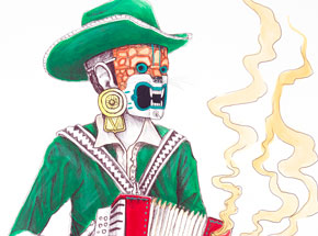 Hand-painted Multiple by Saner - El Norteno Playing The Accordion - Mask Edition 01