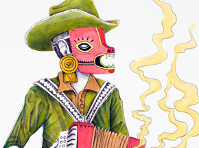Hand-painted Multiple by Saner - El Norteno Playing The Accordion - Mask Edition 05