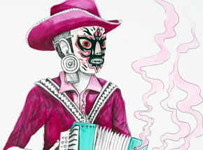Hand-painted Multiple by Saner - El Norteno Playing The Accordion - Mask Edition 06