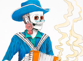 Hand-painted Multiple by Saner - El Norteno Playing The Accordion - Mask Edition 03