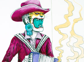 Hand-painted Multiple by Saner - El Norteno Playing The Accordion - Mask Edition 04