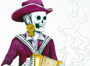 Hand-painted Multiple by Saner - El Norteno Playing The Accordion - Mask Edition 08