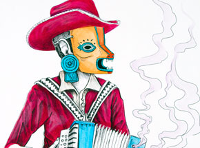 Art by Saner - El Norteno Playing The Accordion - Mask Edition AP02