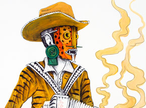 Hand-painted Multiple by Saner - El Norteno Playing The Accordion - Hand Painted Multiple 07