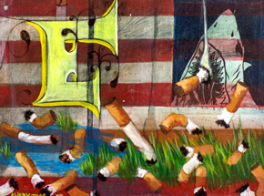 Original Art by Shark Toof - American Flag - Original Painting