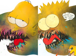 Art Print by Shark Toof - Cici N'est Pas Une Homer + Bart Simpson - 2 Print Set