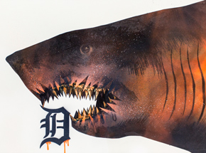 Original Art by Shark Toof - Ceci N'est Pas Une Detroit Tiger  - Original Painting